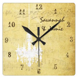 Lámpara apenada personalizada de la nota musical reloj cuadrado