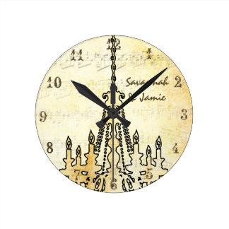 Lámpara apenada personalizada de la nota musical reloj redondo mediano