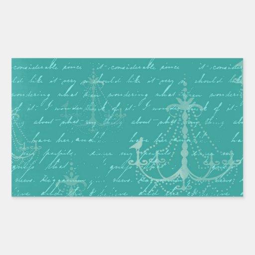 lámpara azul y escritura del vintage pegatina rectangular