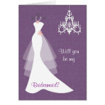 Lámpara blanca del vestido de boda en dama de hono tarjetón