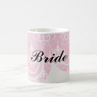 lámpara blanca en el damasco rosado elegante bonit tazas