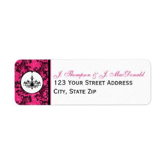 Lámpara blanca negra rosada, etiqueta de dirección