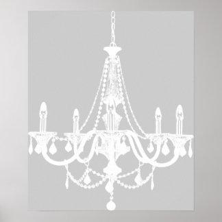 Lámpara blanca y gris elegante poster