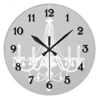 Lámpara blanca y gris elegante reloj redondo grande