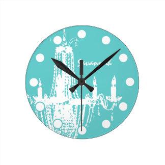 Lámpara brillante personalizada de la aguamarina o reloj redondo mediano