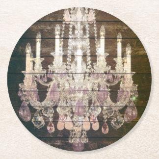lámpara cristalina de madera del granero rústico posavasos de cartón redondo