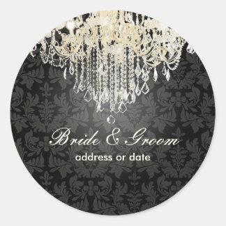 Lámpara cristalina de PixDezines damasco barroco Etiquetas Redondas