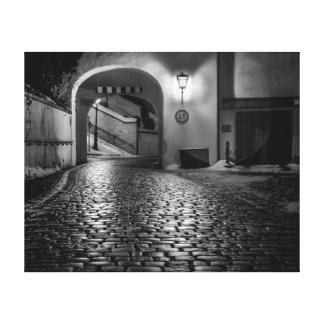 Lámpara de calle y calle del guijarro impresión en lienzo