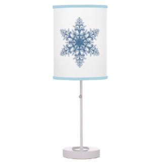 Lámpara de escritorio azul del copo de nieve