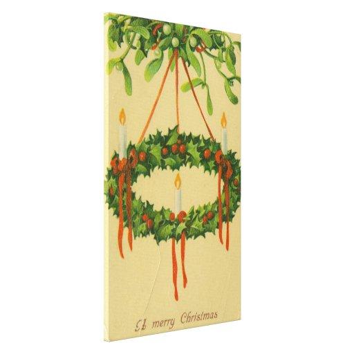 Lámpara de la guirnalda del navidad del vintage impresión en lona