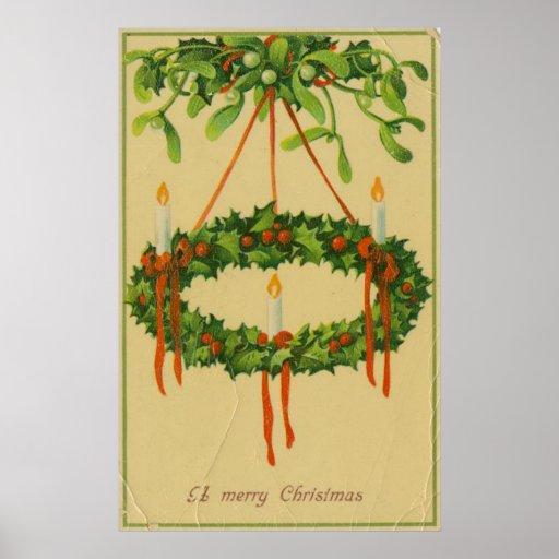 Lámpara de la guirnalda del navidad del vintage impresiones