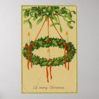Lámpara de la guirnalda del navidad del vintage póster