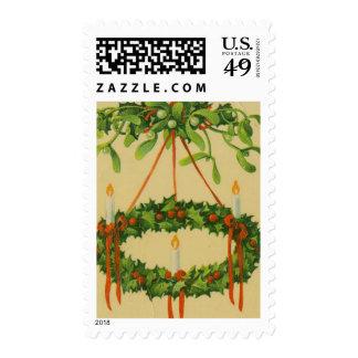 Lámpara de la guirnalda del navidad del vintage sellos