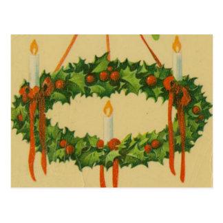 Lámpara de la guirnalda del navidad del vintage tarjetas postales
