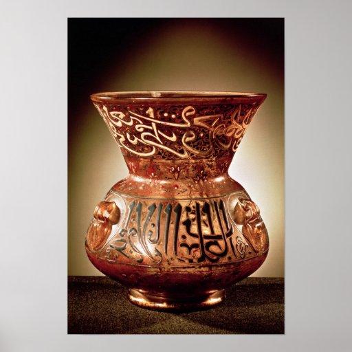 Lámpara de la mezquita con la decoración esmaltada póster