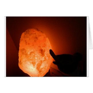 Lámpara de la sal de Himilayan con el pájaro Tarjeta De Felicitación