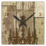 Lámpara de madera rústica vieja personalizada de l reloj de pared