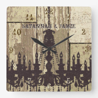 Lámpara de madera rústica vieja personalizada de reloj cuadrado