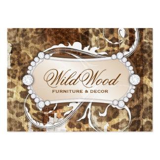 Lámpara de madera salvaje del estampado leopardo 3 plantilla de tarjeta de negocio