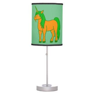Lámpara de mesa anaranjada del unicornio