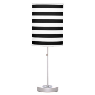 Lámpara de mesa ancha blanca negra moderna de las