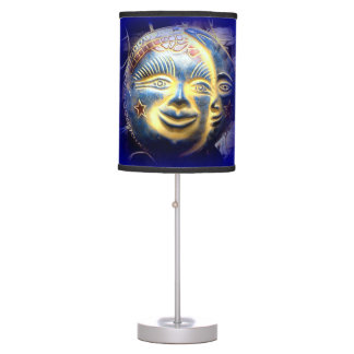 lámpara de mesa azul celestial de la cara de luna