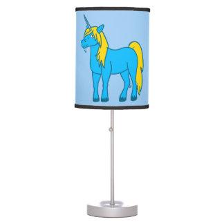 Lámpara de mesa azul del unicornio
