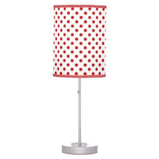 Lámpara de mesa blanca roja de los lunares