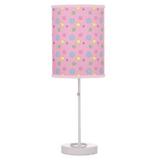 Lámpara de mesa colorida rosada de los lunares