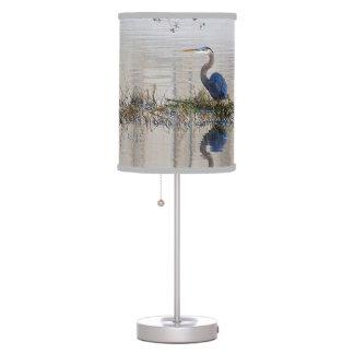 Lámpara de mesa de la garza de gran azul