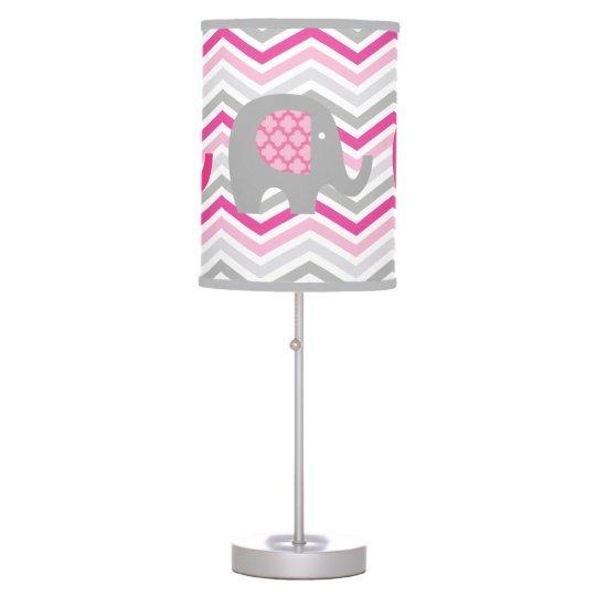 Lámpara de mesa de los elefantes grises y rosados