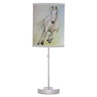 Lámpara de mesa del caballo blanco