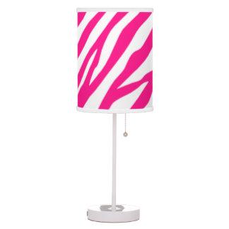Lámpara de mesa del estampado de zebra de las rosa