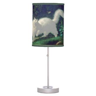 Lámpara de mesa del gato del angora