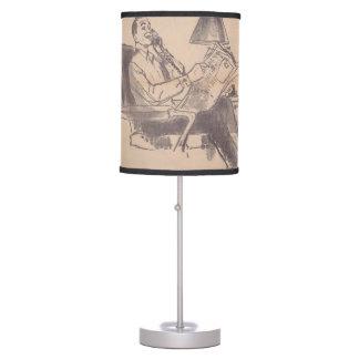 Lámpara de mesa del papá del periódico del vintage
