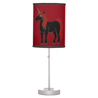 Lámpara de mesa negra del unicornio
