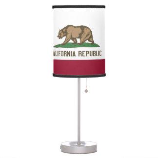 Lámpara de mesa patriótica con la bandera de Calif