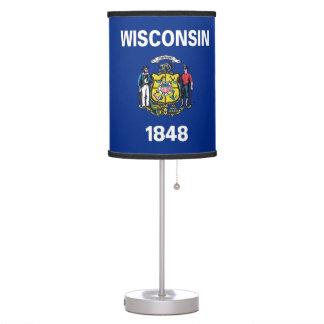 Lámpara de mesa patriótica con la bandera de Wisco