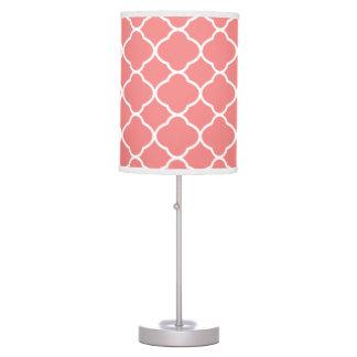Lámpara de mesa rosada blanca y coralina del