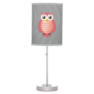 Lámpara de mesa rosada linda de los búhos