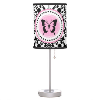 Lámpara de mesa rosada y negra de la mariposa