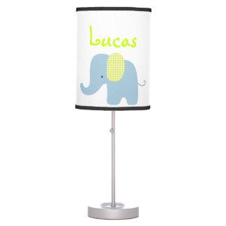 Lámpara del elefante del bebé verde y azul