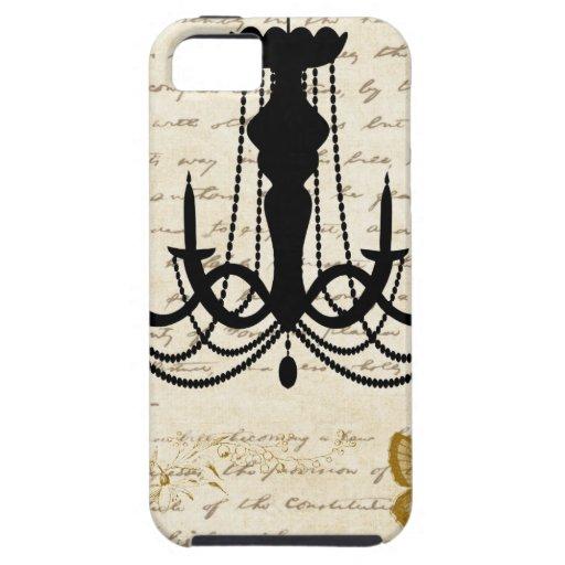 Lámpara del vintage con las mariposas funda para iPhone SE/5/5s