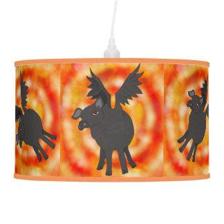 lámpara demoníaca del techo de los cerdos del
