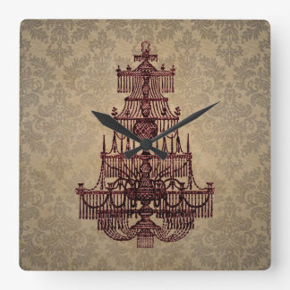 Lámpara elegante de la antigüedad del vintage en e reloj cuadrado