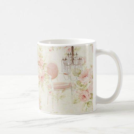 Lámpara floral del rosa del vintage de Budoir del  Tazas De Café