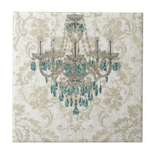 lámpara francesa del vintage del país del damasco azulejo cuadrado pequeño