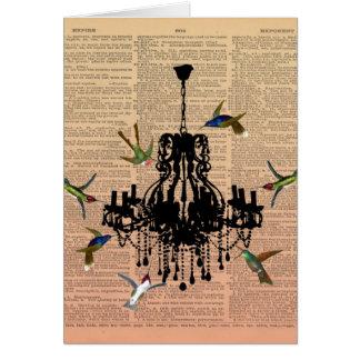 Lámpara Notecard del colibrí de la página del libr Tarjeta Pequeña