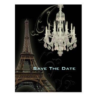 lámpara París del vintage que casa SaveTheDate Postal