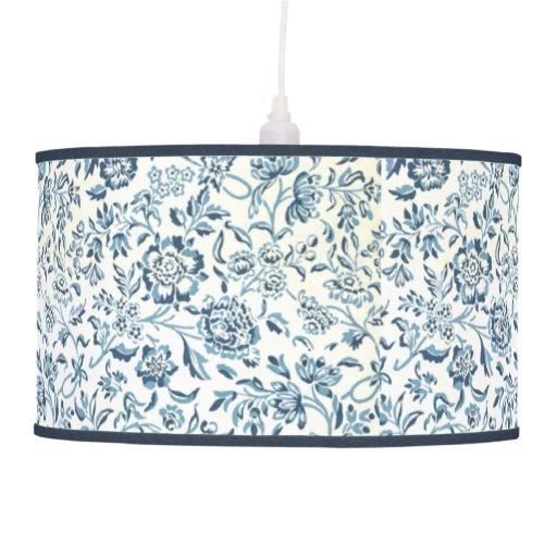 Lámpara pendiente de la flor azul